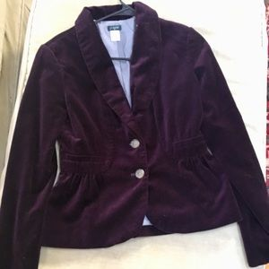 Women's J. Crew, deep purple, velvet blazer.